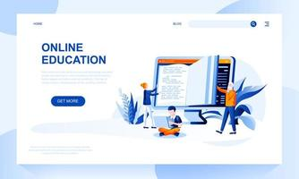 Online education vector landing page template with header