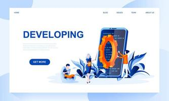 Developing vector landing page template