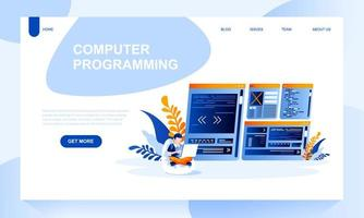 Computer programing vector landing page template