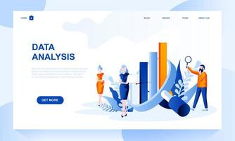 Data analysis vector landing page template with header