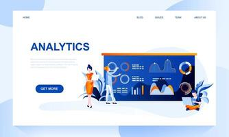 Analytics vector landing page template with header