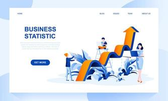 Business statistics vector landing page template with header