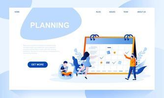 Planificación de plantilla de página de destino de vector con encabezado
