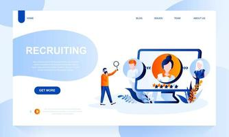 Recruiting vector landing page template with header
