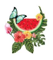 butterfly with tropical watermelon and exotic flowers