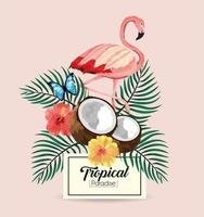 label with flamingo and tropical coconut with butterfly