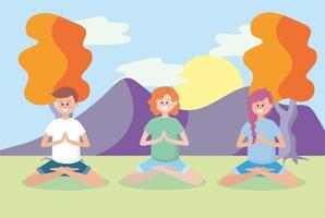 women and man training yoga position