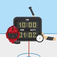 hockey time with points and helmet with chronometer