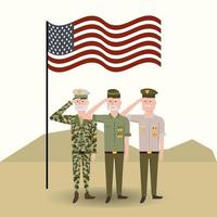 usa flag with veterans military soldiers