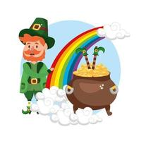 happy st patrick man with legs and gold coins inside cauldron