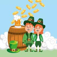 happy st patrick man and woman with coins inside barrel