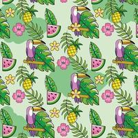 vattenmelon med ananas och tropiska växter bakgrund