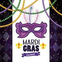 card with mask and necklace balls to mardi gras