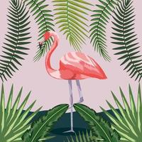 flamingo with branches leaves plants background