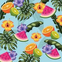tropical delicious fruits and leaves plants background