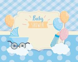 label of baby carriage and balloons deccoration