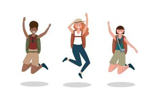 set of happy women jumping with backpack and camera
