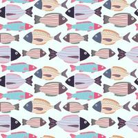 fish doodle seamless pattern background