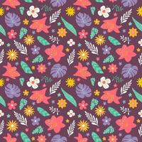 flower and foliage colorful seamless pattern