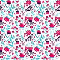 flower blooming and floral seamless pattern