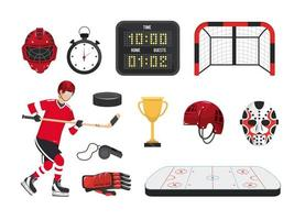 set professional hockey equipment and player uniform