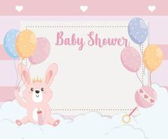 card of cute rabbit animal with balloons