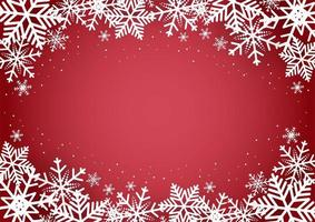 Christmas and happy new year red background with snowflake