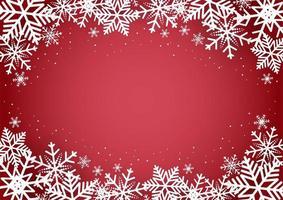 Natale e felice anno nuovo sfondo rosso con fiocco di neve