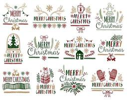 Merry Christmas greetings set