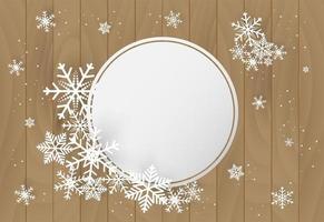 Natale e felice anno nuovo sfondo con fiocco di neve su legno