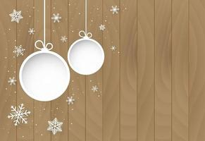 Christmas and happy new year background with ornaments on wood