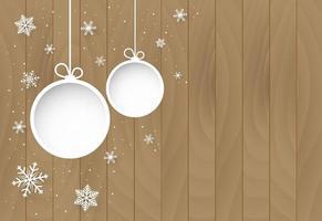 Natale e felice anno nuovo sfondo con ornamenti su legno