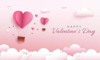 Happy Valentine's Day design with hot air heart balloon. Paper art and digital craft style