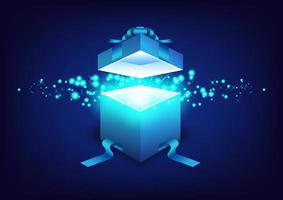 shiny blue gift box opening vector