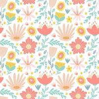 flower blossom foliage colorful seamless pattern background