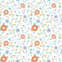 flower blossom and leaves seamless pattern