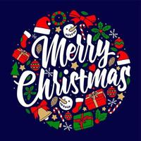 merry christmas greeting card badge pattern