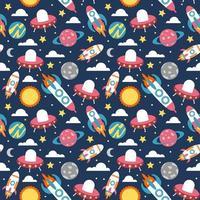foguete espacial e planeta colorido sem costura de fundo