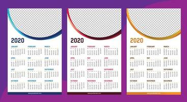 One page calendar 2020 template vector