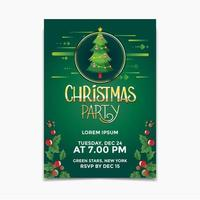 Christmas party poster and flyer design concept with Christmas tree background