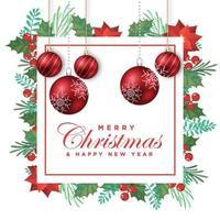 Tarjeta de felicitación navideña con decoración floral y bolas navideñas vector