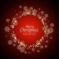 Red Merry Christmas celebration greeting background with gold snowflakes