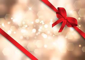 Fundo de luzes de bokeh de Natal com fita vermelha