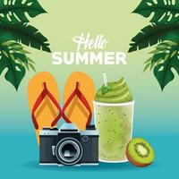 Hello summer poster card cartoons