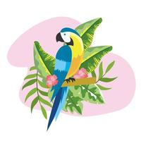 parrot with tropical plants leaves in the summer