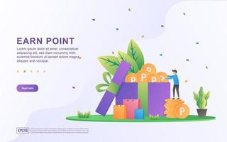 Earn point illustration concept. Loyalty program and get rewards