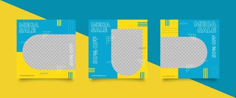 Bright Colored Social media post template set