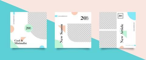 Pastel colors social media post templates  vector