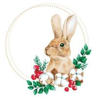 frame with watercolor rabbit vector