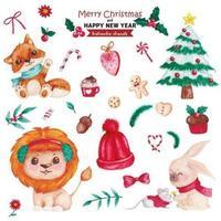 Watercolor elements Christmas set